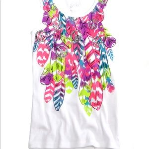Justice White with Neon Peace & Feathers Tank Sz 8